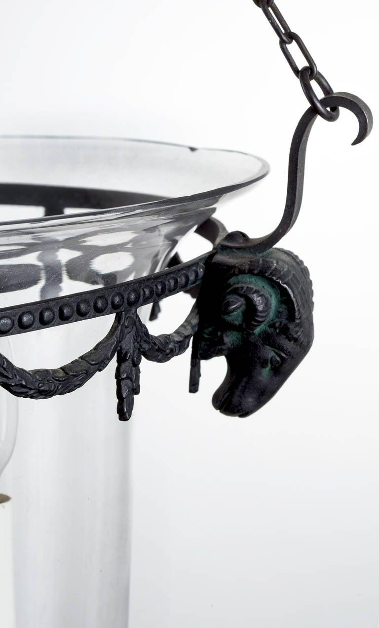 Bell Jar Pendant Lantern With Bronze Ram S Heads At 1stdibs