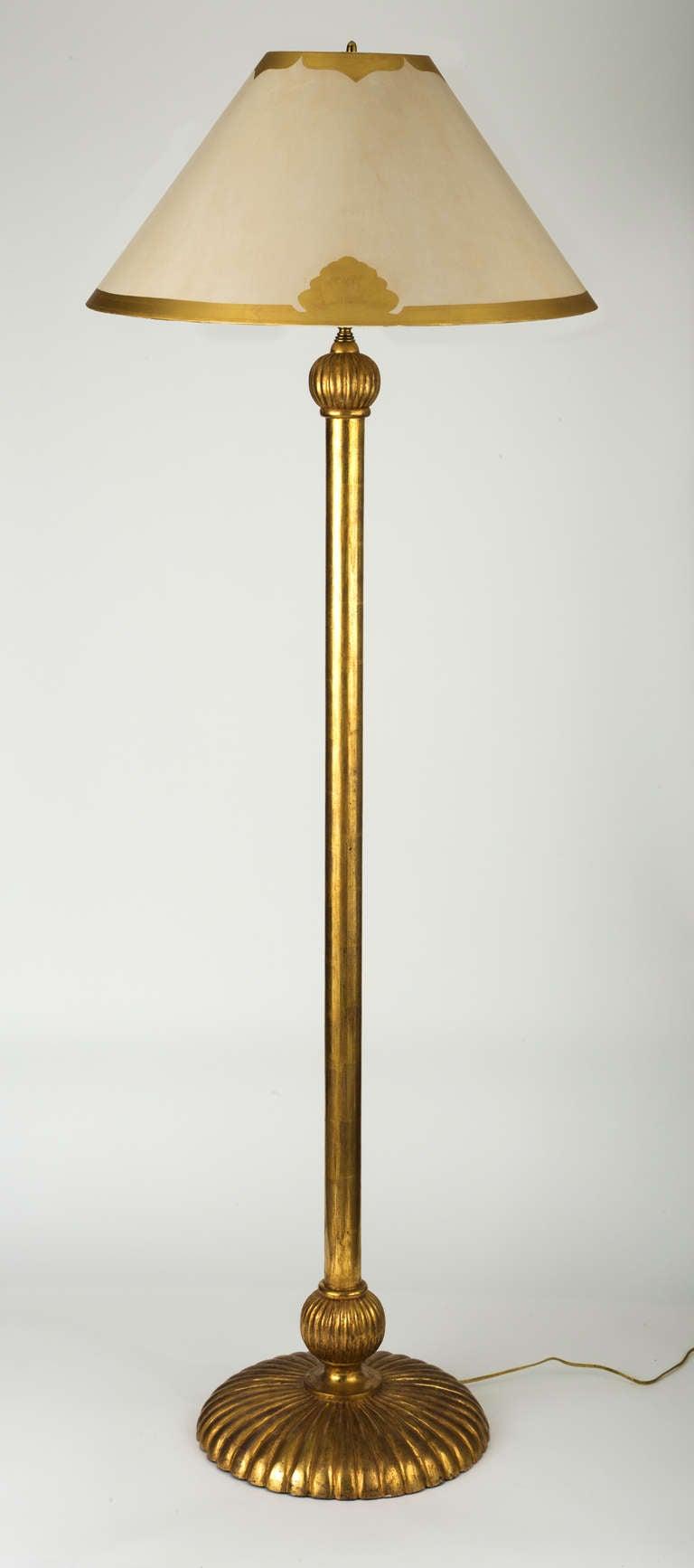 Simple Tall Gilt Floor Lamp At 1stdibs