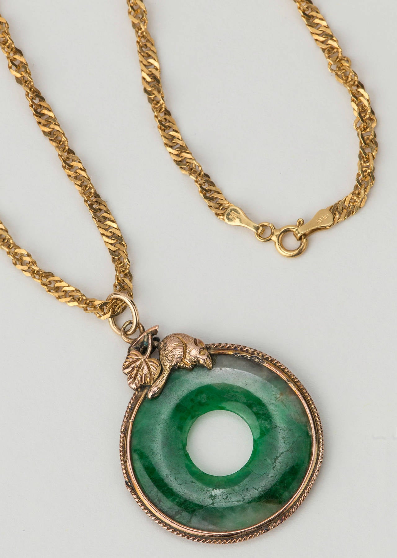 Chinese Rat And Jade Pendant Necklace At 1stdibs