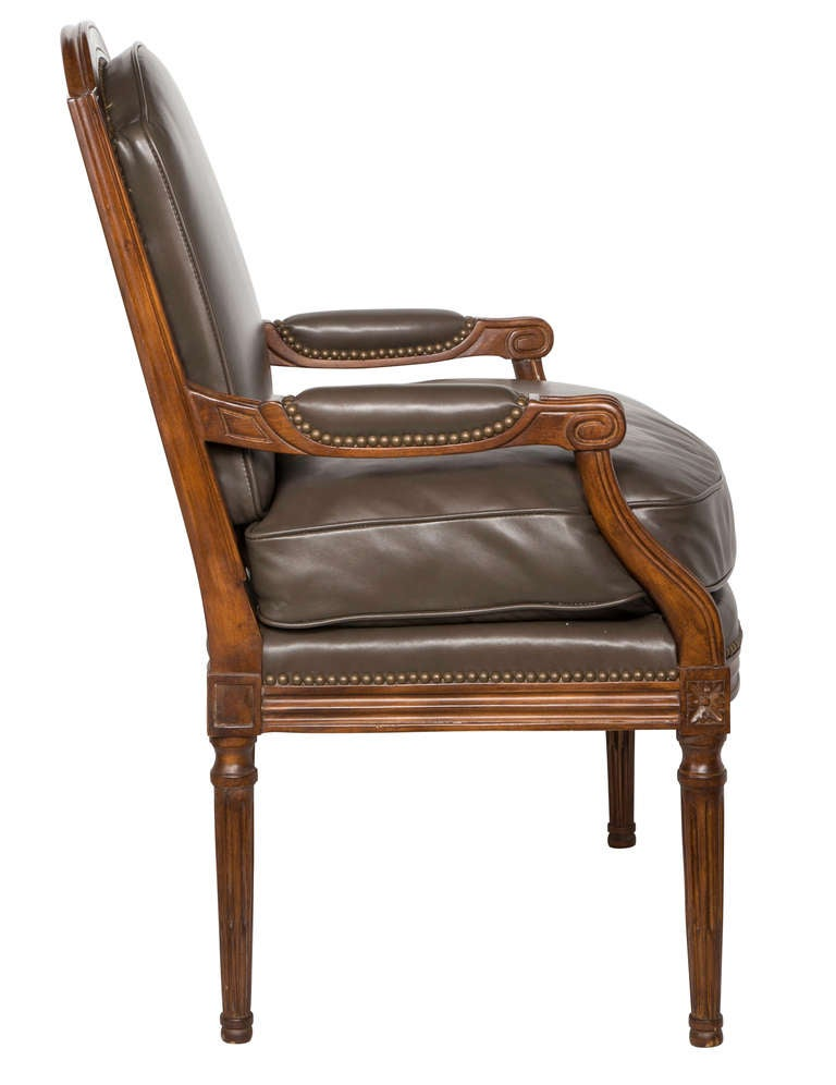 Vintage Baker Leather Arm Chair at 1stdibs