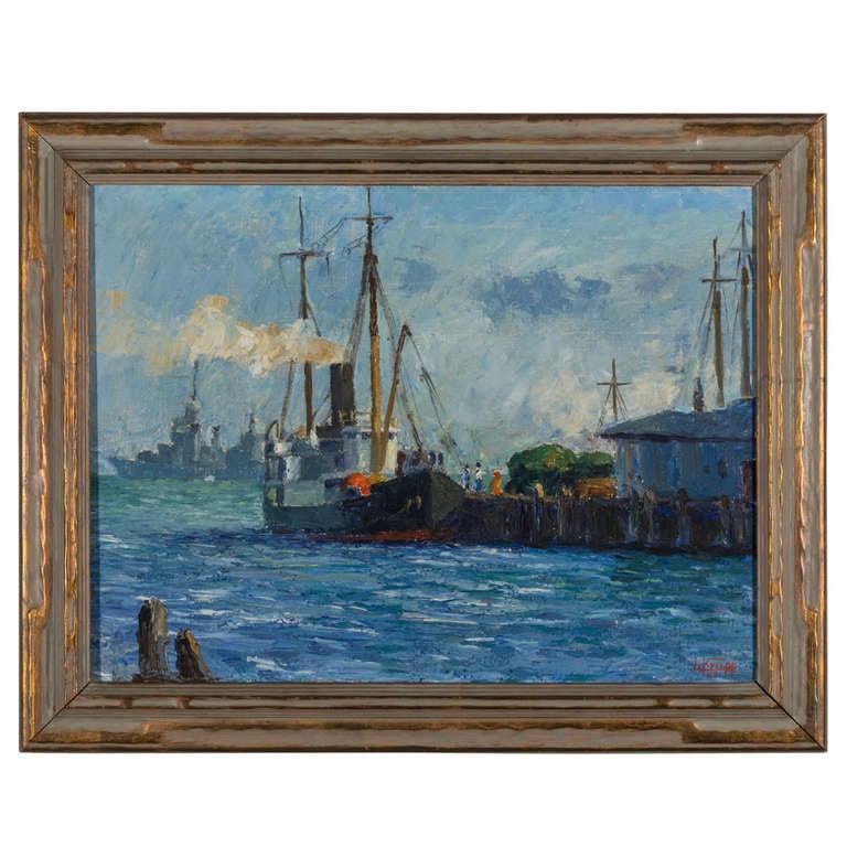 "L. Krupp '39  ""Harbor Ships"" Painting"