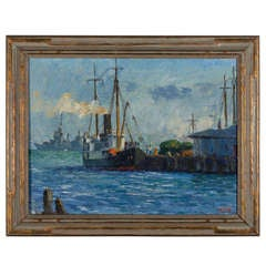 "L. Krupp '39  ""Harbor Ships"" Painting"