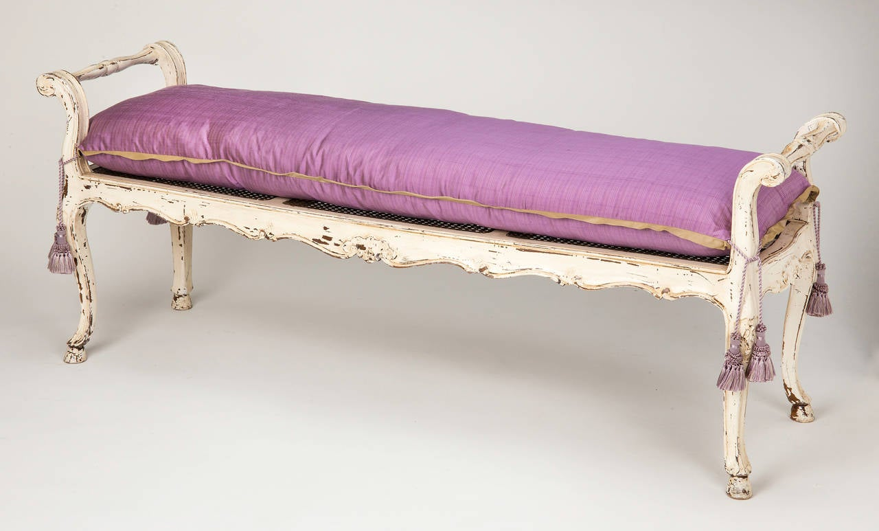 French Painted Cane Seat Bench At 1stdibs