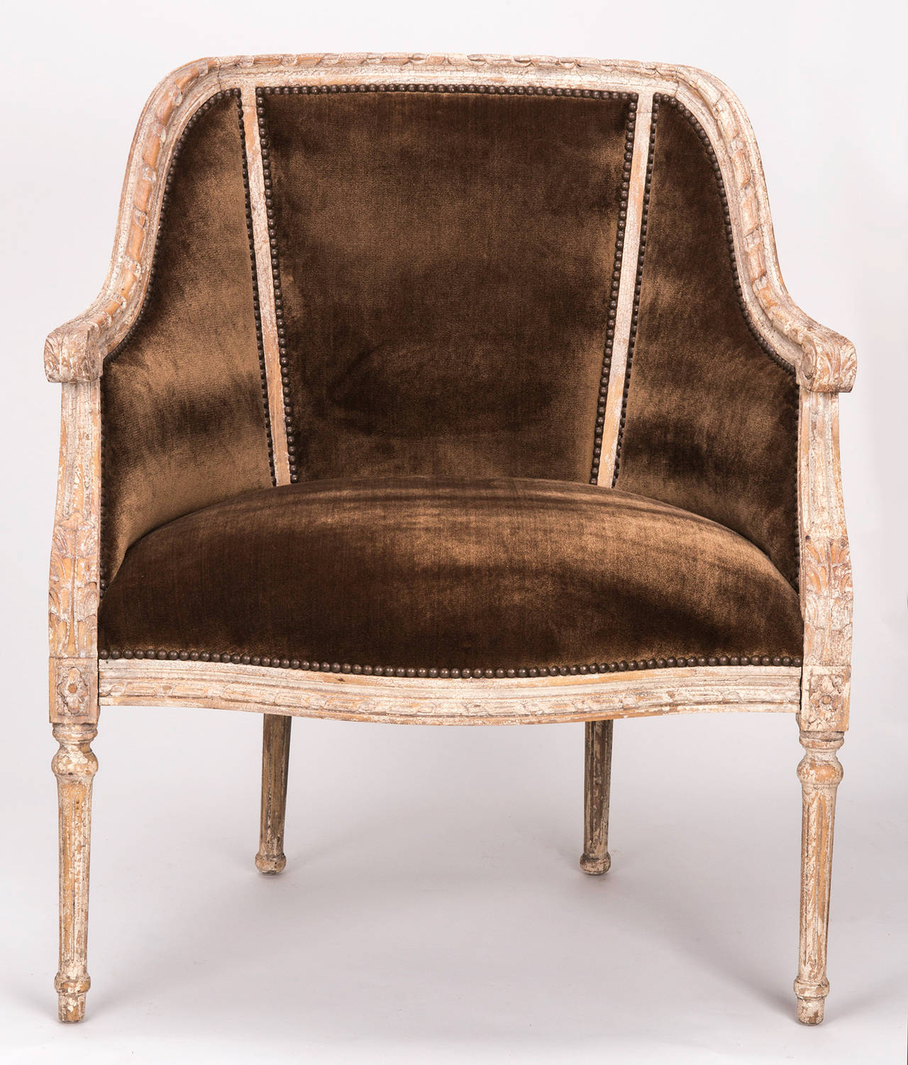 French Cane Back Barrel Chair at 1stdibs