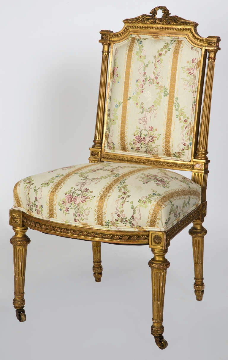 19th century pair of louis xvi style french gilt for Styles of upholstered chairs