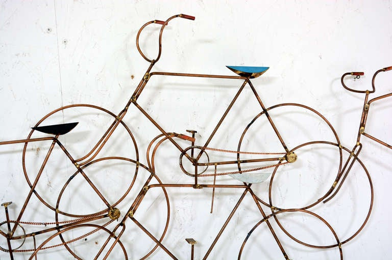 Mid Century Modern Curtis Jere Bikes Wall Sculpture For Sale