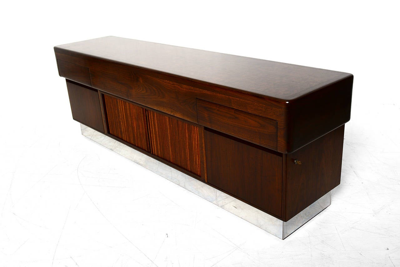 Modern Walnut Credenza by Monteverdi and Young at 1stdibs
