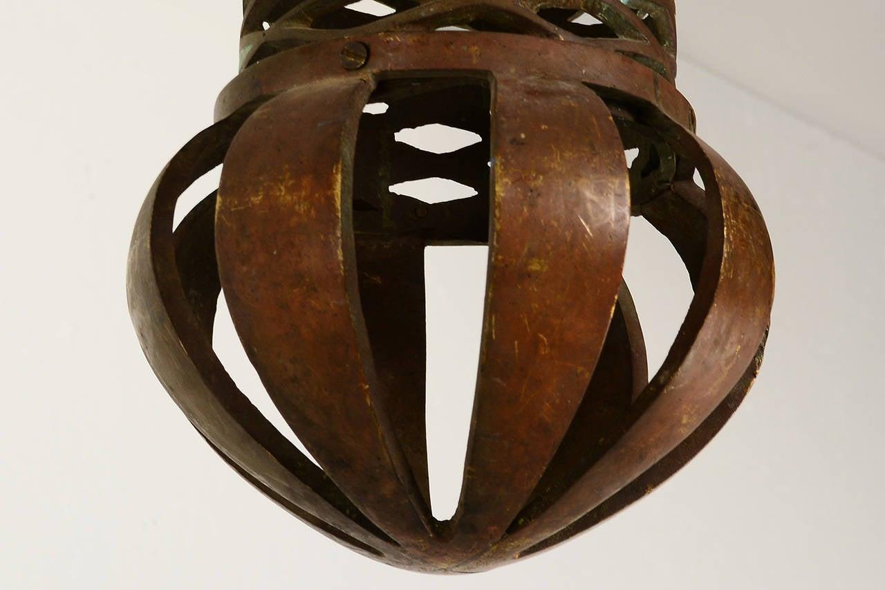 Mid Century Mexican Modernist Pepe Mendoza Hanging Lamps Bronze & Malachite For Sale 1