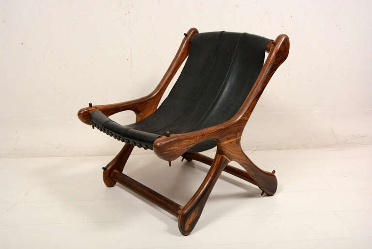 Mexican Mid Century Modern Cocobolo Don Shoemaker Sling Leather Chair For Sale