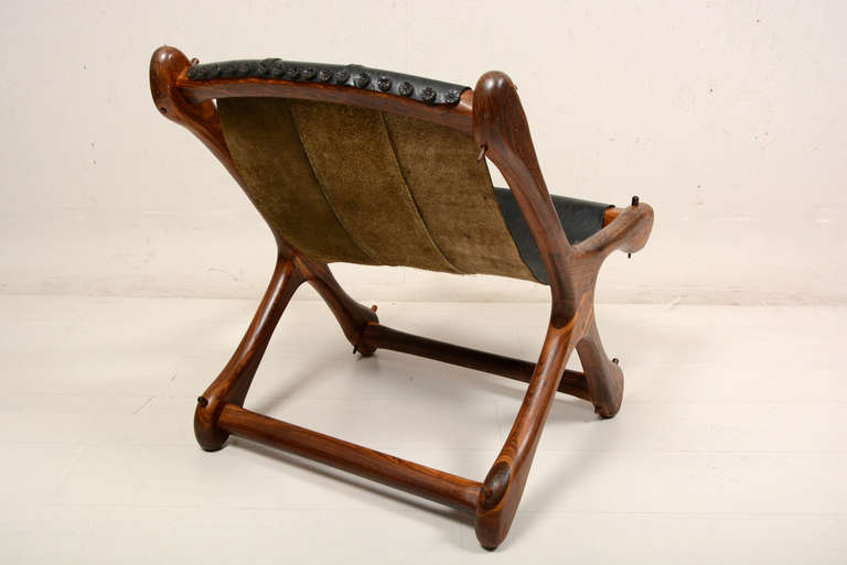 Mid Century Modern Cocobolo Don Shoemaker Sling Leather Chair In Good Condition For Sale In National City, CA