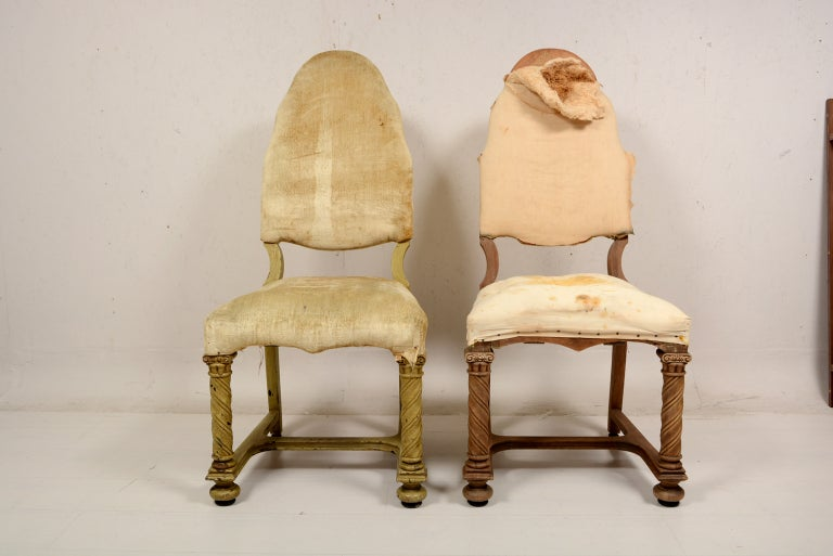 Pair of Antique Hand-Carved Chairs For Sale