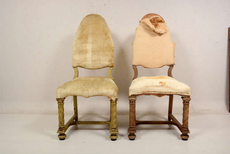 For your consideration a pair of antique chairs made of solid mahogany wood with solid walnut as secondary wood.  Original casters in brown bakelite.  Original horse hair and springs.