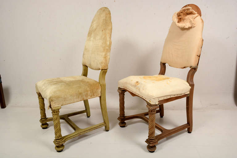 Baroque Pair of Antique Hand-Carved Chairs For Sale
