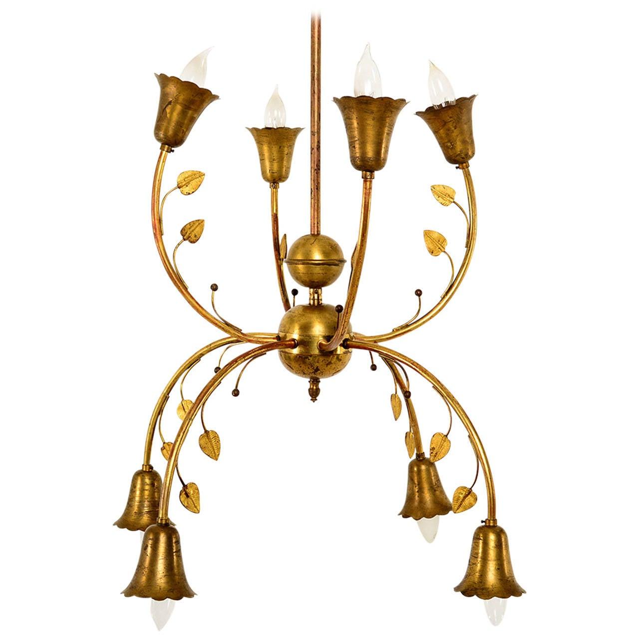 Mid-Century Italian Brass Chandelier
