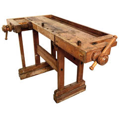 Antique Vintage Carpenter's Bench Table