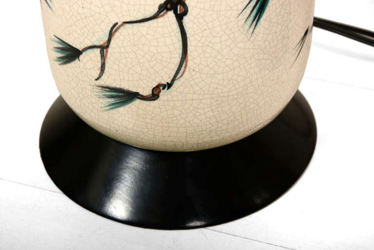 Glazed Mid Century Pair of Oriental Table Lamps For Sale
