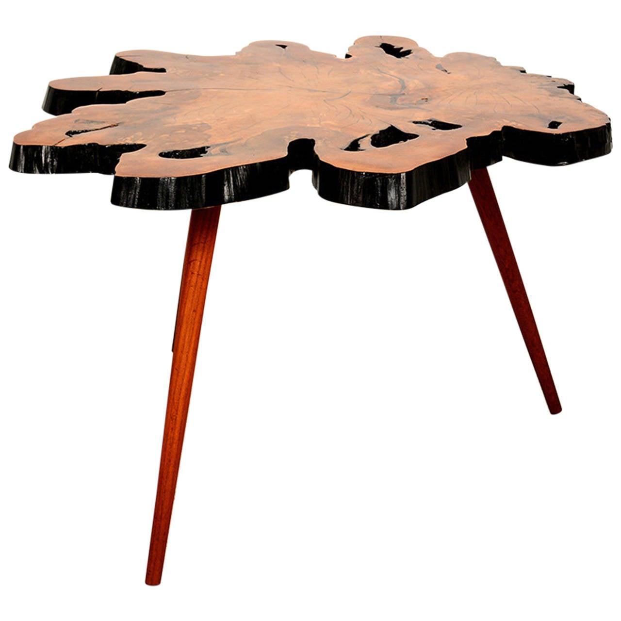 Free form burl wood side table at stdibs