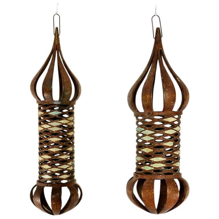 Mid Century Mexican Modernist Pepe Mendoza Hanging Lamps Bronze & Malachite For Sale
