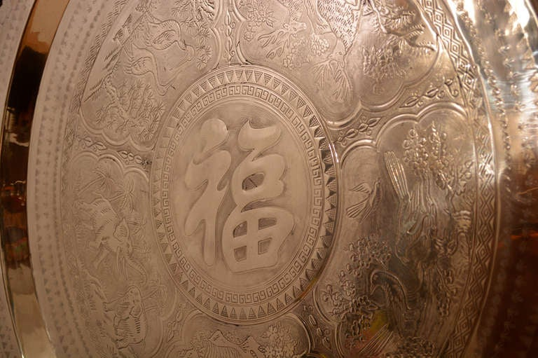 Large Fine Chinese Brass Tray In Excellent Condition For Sale In National City, CA