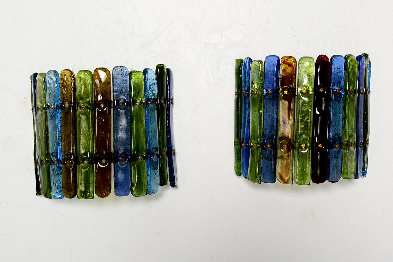 Wall Sconces With Colored Glass : Feders Colored Glass Wall Sconces at 1stdibs