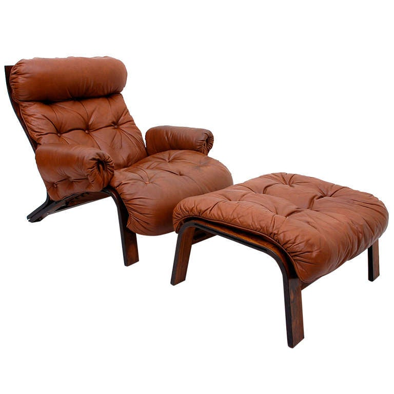 Unique Rosewood Scandinavian Lounge Chair And Ottoman For