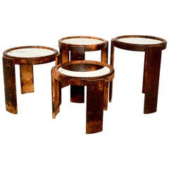 Goatskin Leather Wrapped Nesting Tables