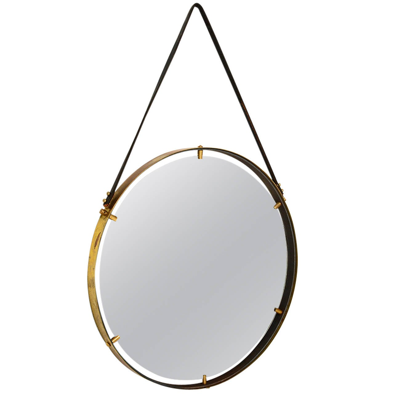 Brass wall hanging mirror ambianic for sale at 1stdibs for Hanging mirror