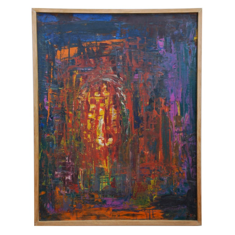 Abstract oil in board vintage original art initial k a for Original modern art for sale