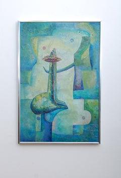Latin American Abstract Surrealist Original Painting Signed Drejel, 1973