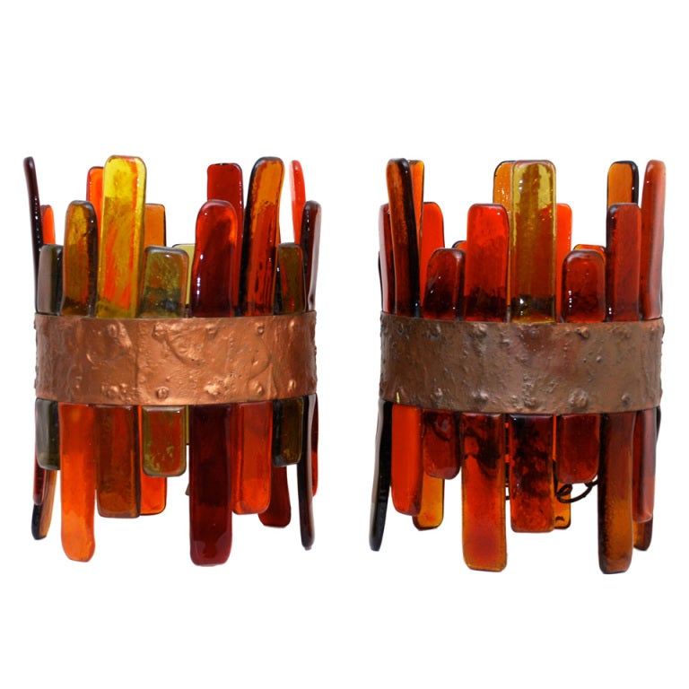 Pair of Mexican Color Glass Hanging Lamps 1