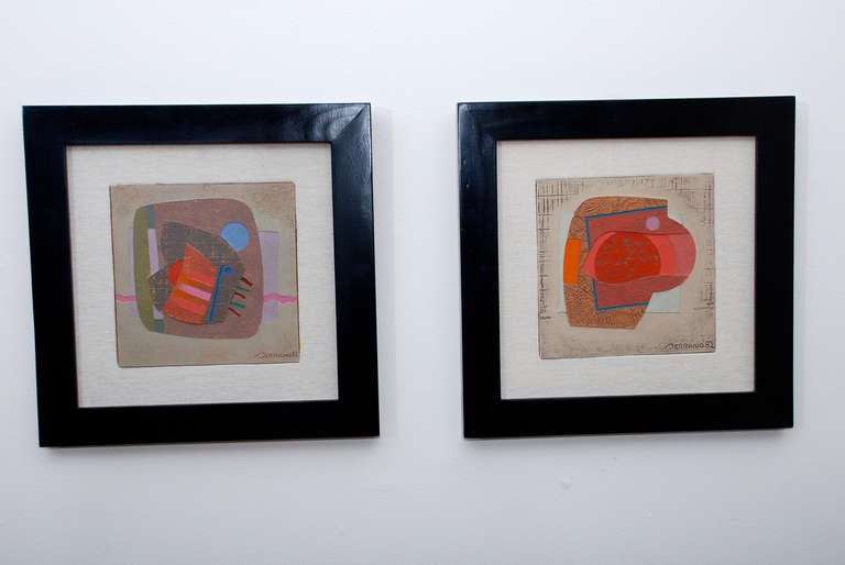 For your consideration a set of two abstract paintings by José Luis Serrano, both are signed in the lower right corner