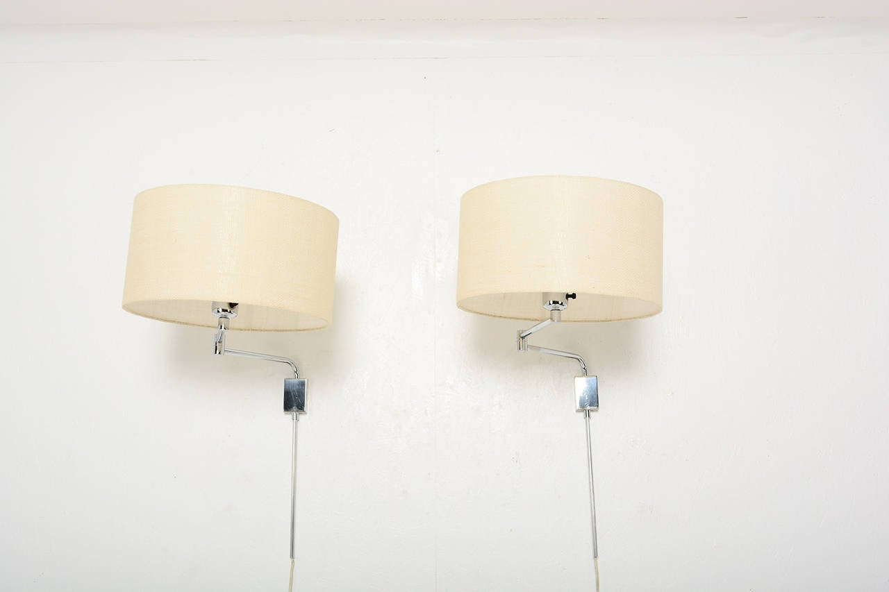 Pair of Mid Century Modern Chrome-Plated Wall Sconces For Sale at 1stdibs