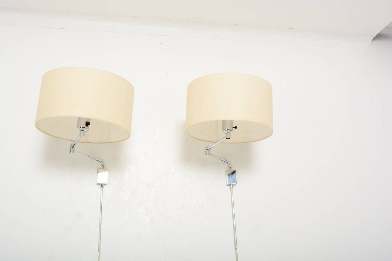 Modern Chrome Wall Sconces : Pair of Mid Century Modern Chrome-Plated Wall Sconces For Sale at 1stdibs