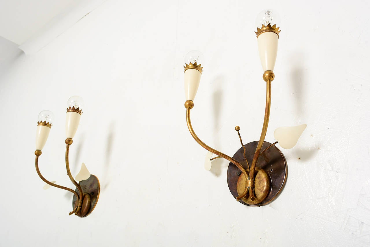Painted Italian Wall Sconces after Gio Ponti For Sale