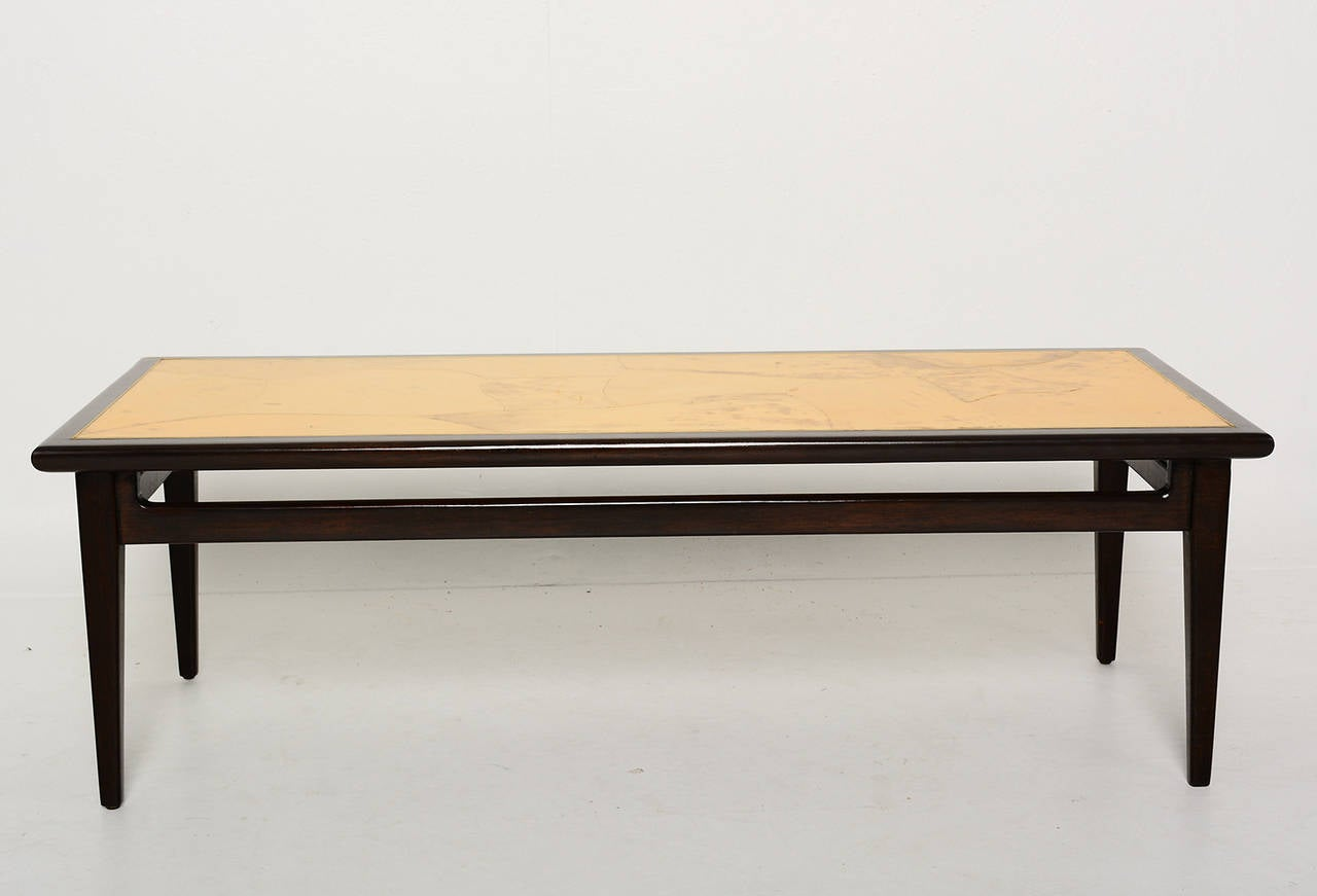 Mexican Goatskin Mahogany Coffee Table Attributed To Eugenio Escudero For Sale At 1stdibs