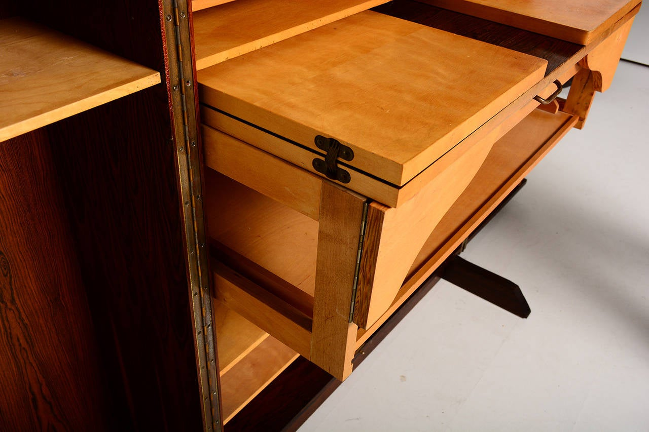 Rosewood Hideaway Desk Cabinet For Sale at 1stdibs