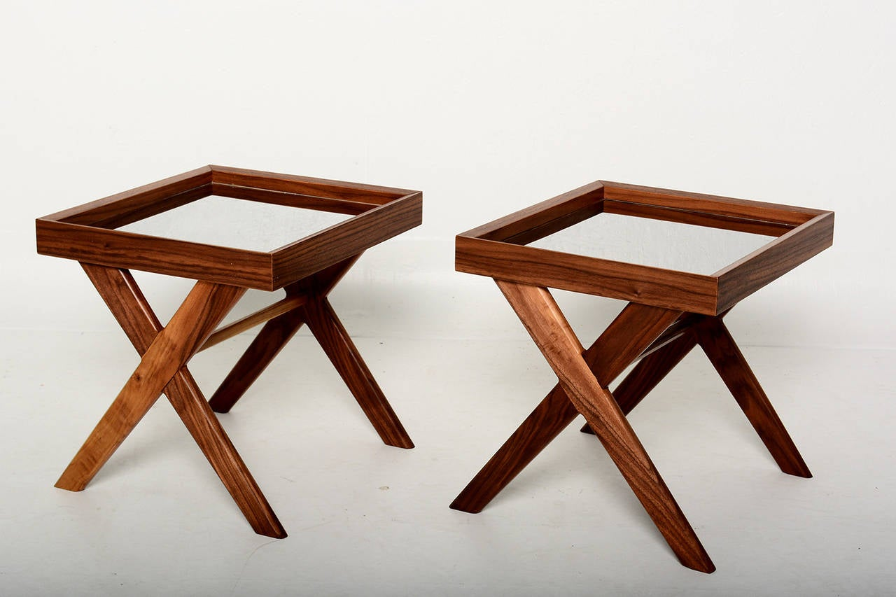 Pablex x base walnut side tables for sale at 1stdibs for Side table base
