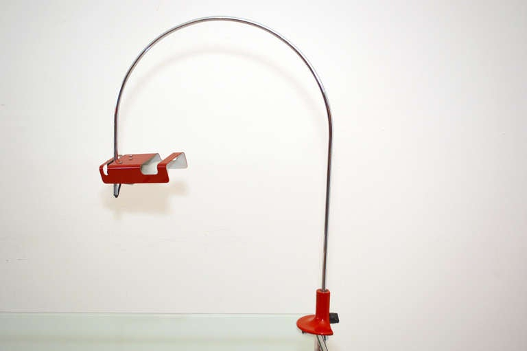 For your consideration a vintage table or desk lamp by Joe Colombo.  Red shade with chrome-plated steel hardware. Original clamp can be adjusted to adjust heigh.  Made in Italy, circa 1980s.