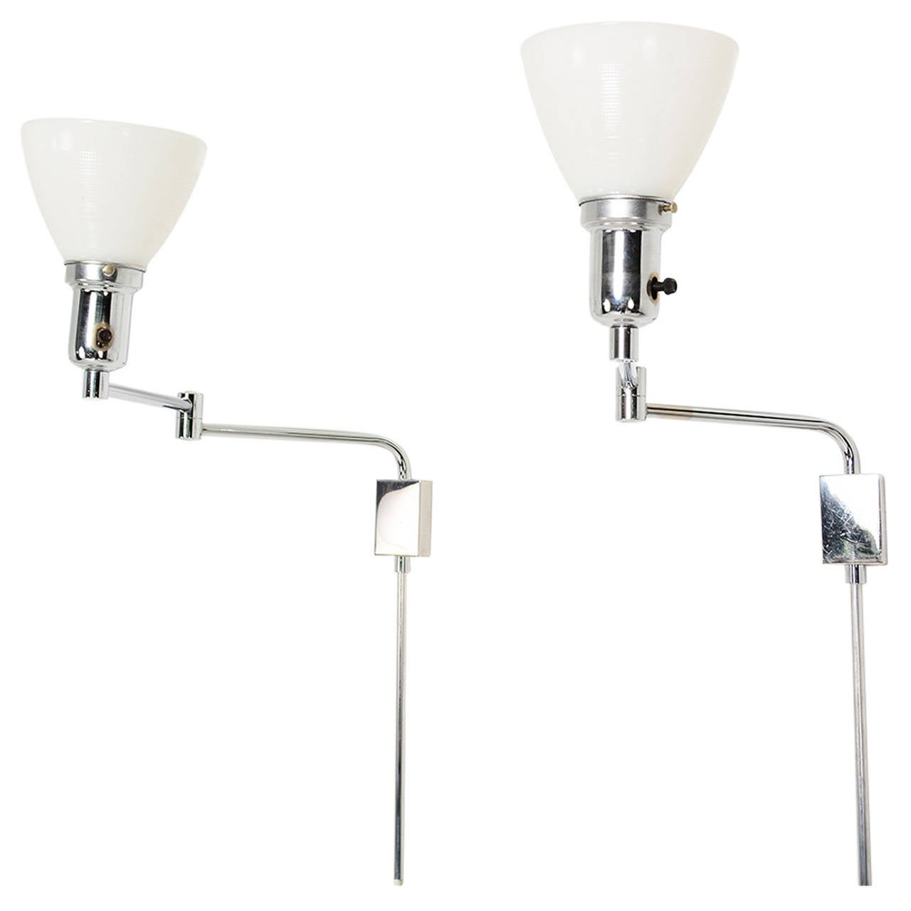 Pair of Mid Century Modern Chrome-Plated Wall Sconces