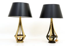 Pair of Brass Table Lamps Attributed to Arturo Pani