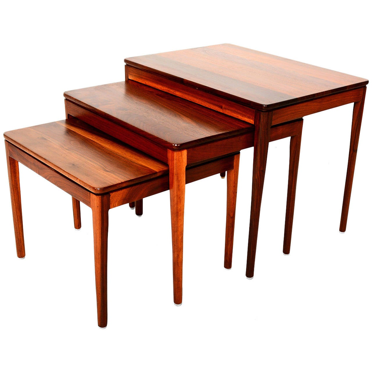 Kipp stewart for drexel walnut nesting tables at 1stdibs for Small stackable coffee tables