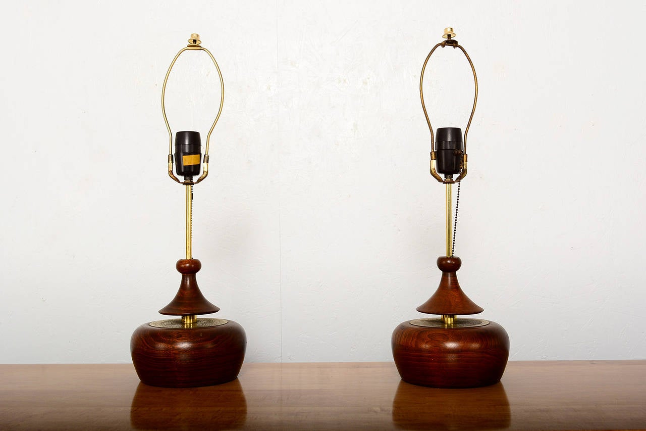 Mid-Century Modern Walnut Pair of Table Lamps 2