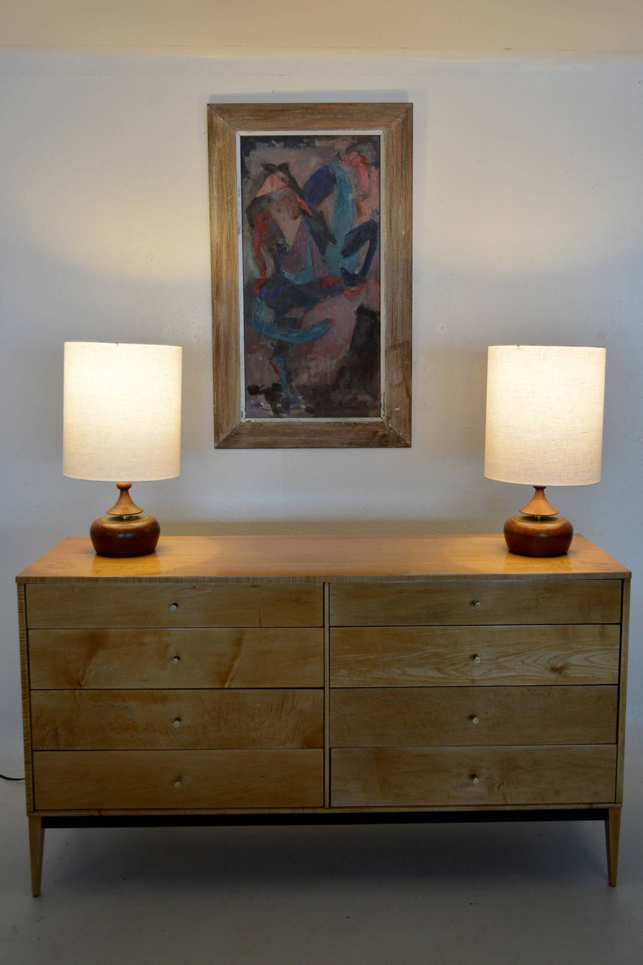 Mid-Century Modern Walnut Pair of Table Lamps 4