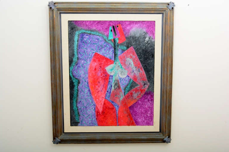 Figurative abstract painting by Mexican artist: Byron Galvez (1941-2009)  In style, Byron has gone back to the great analytic cubist canvases of Braque and Picasso. He constructs his elongated, mostly standing figures out of sharply defined planes