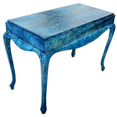 Blue Goatskin Console Table