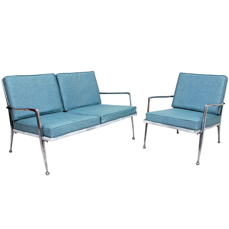 Attributed to billy haines aluminum patio set at 1stdibs for Living room furniture sets michigan