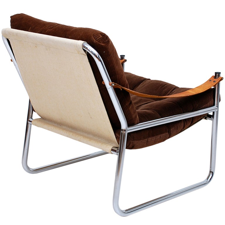 Leather Arm Rest Chrome Safari Lounge Chair