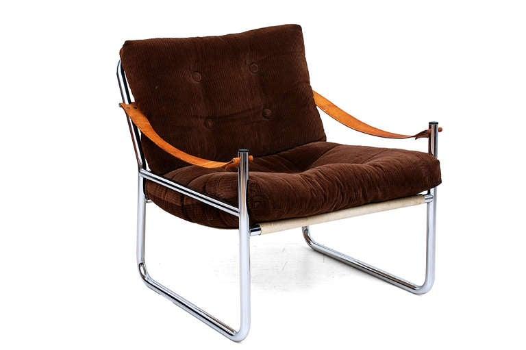 leather arm rest chrome safari lounge chair at 1stdibs