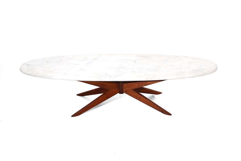 Walnut And Marble Coffee Table And Side Table At 1stdibs