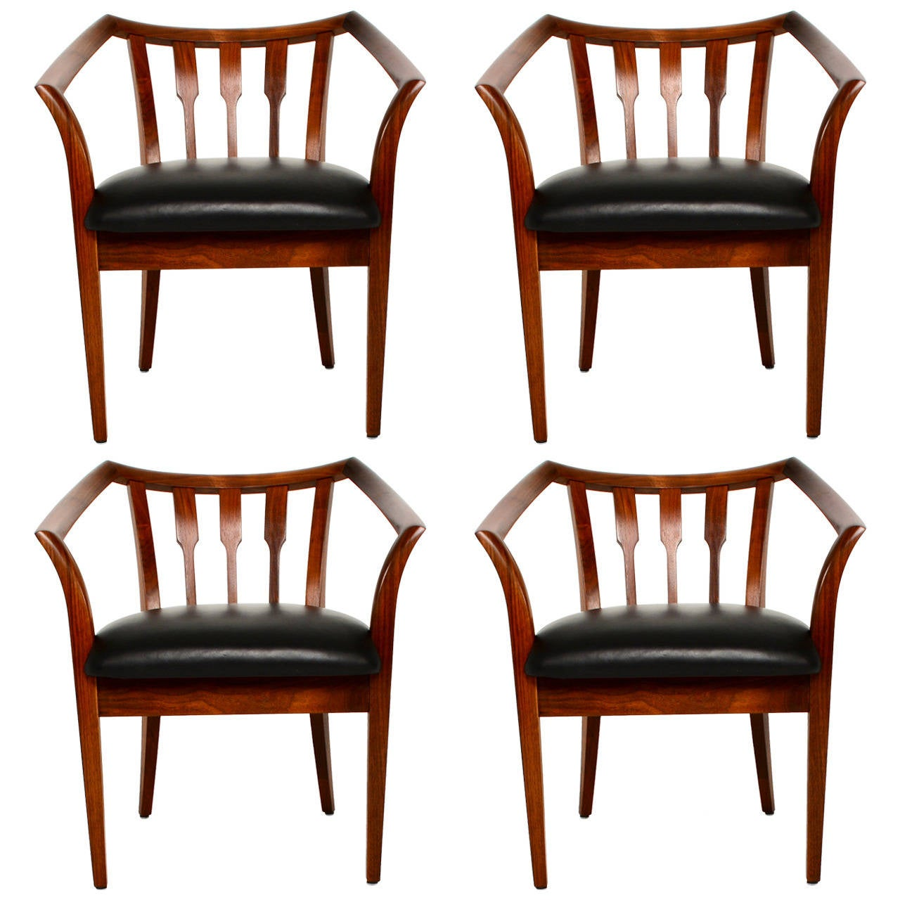 Set Of Four Custom Walnut Chairs At 1stdibs
